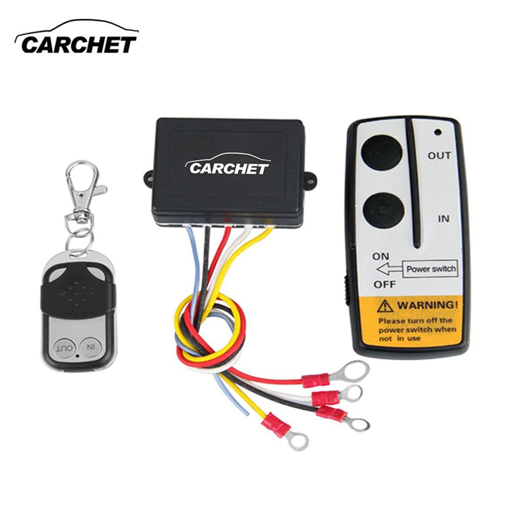 CARCHET Universal Wireless Winch Remote Control Kit 12V 50ft 2 Remotes With Indicator light Car Detector For Truck Jeep ATV SUV