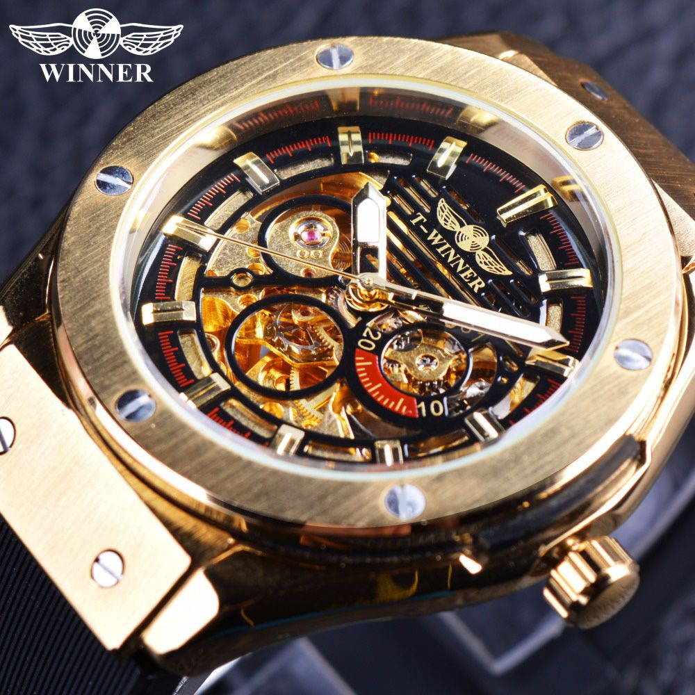 Winner 3 Dial Golden Metal Series Men Watches Top Brand Luxury Automatic Watch Luxury Brand Mechanical Skeleton Male Wrist Watch