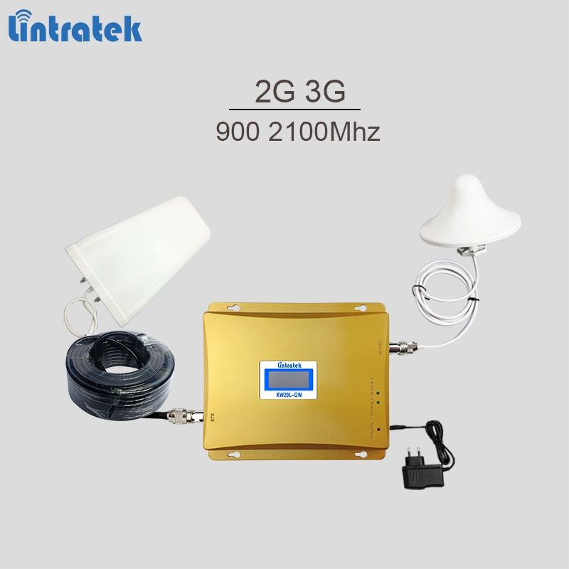 Lintratek cellular signal booster dual band GSM 900Mhz UMTS 2100Mhz 2G 3G mobile signal repeater with LCD display full kit #5.3