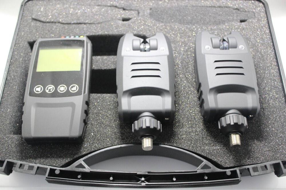 Hohe Qualität Karpfenangeln Alarm Drahtlose Digitale Angeln LED Alarm Set 2 Fischerei Bissanzeiger + 1 touch schock Empfänger in Fall