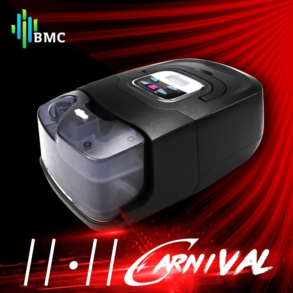 BMC GI Auto CPAP Machine Black Shell Smart Home Care Respirator For Sleep Snoring Apnea Therapy With Humidifier Mask Hose