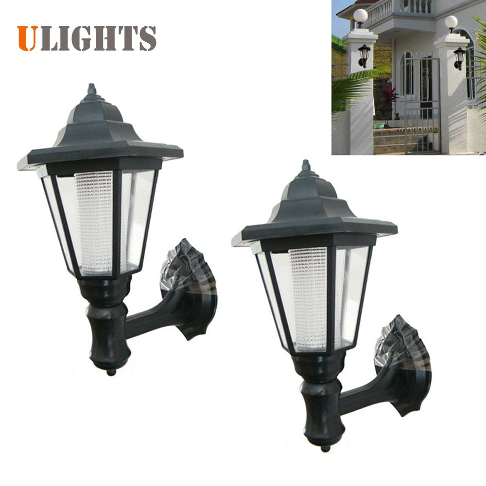 2pcs! Outdoor LED Solar Power Light Energy Saving Super Bright Yard Garden Decoration Path Street Security Wall Hanging Lamp