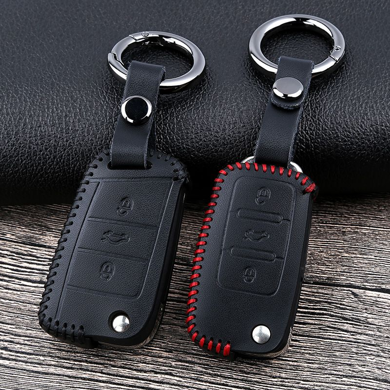 Leather Car Key Cover Case for VW Volkswagen Tiguan mk2 2017 2018 Magotan Passat B8 Polo Golf 4 5 6 7 mk7 Jetta mk6 Eos Scirocco