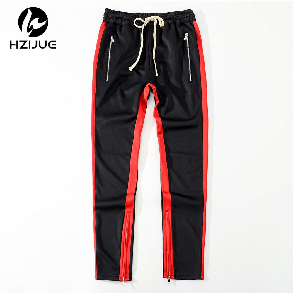 HZIJUE 2018 Men Side stripe bottom zipper drawstring sweatpants high streetwear jogger elastic waist track pants for men