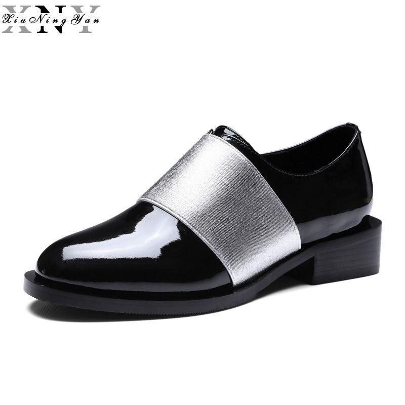 XiuNingYan New Fashion Echtes Leder Runde Kappe Frauen Wohnungen Komfortable Weiche Slipper Casual Frauen Oxfords Schuhe Mädchen Schuhe