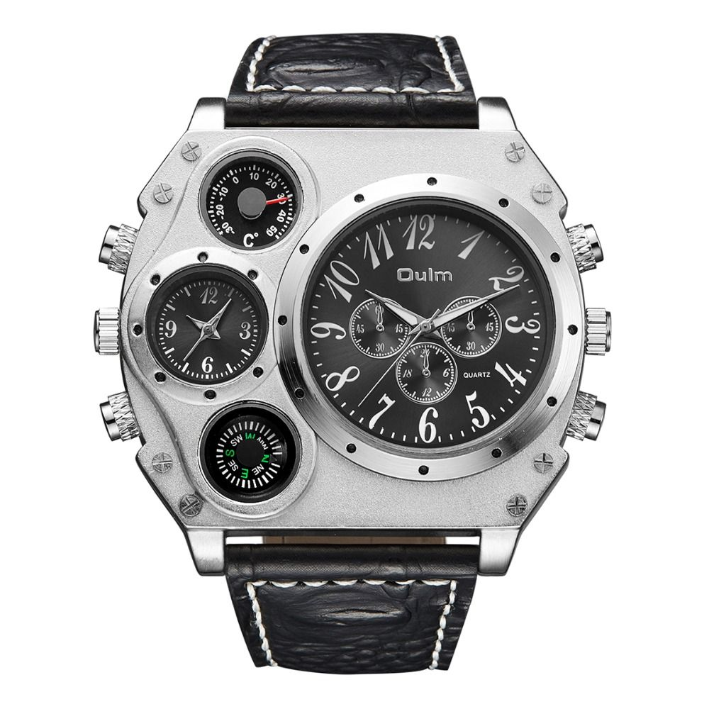 Oulm 1349 Men's watch Sports military Watch men with Compass & Thermometer decoration leather strap quartz wristwatch