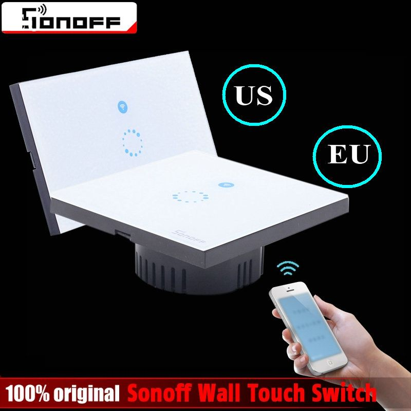 Sonoff Touch US EU Plug Wall Wifi LED Light Switch Glass Panel Touch Timer Switch for Smart Home Wireless Remote Switch Control