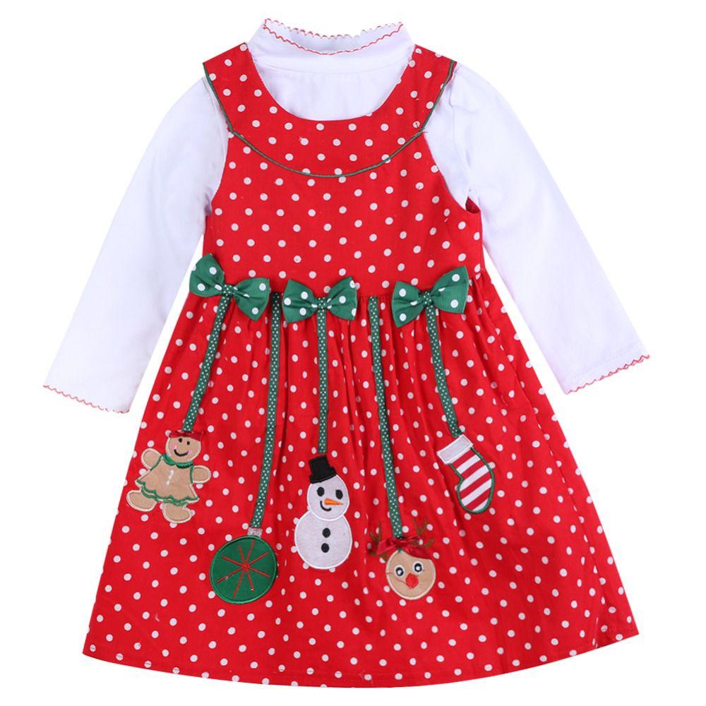 2018 Automne Hiver Pour Les Filles De Noël Nouvel An Vêtements Enfant À Manches Longues De Noël Homme Dot Robe enfants de 2 pcs vêtements Ensembles