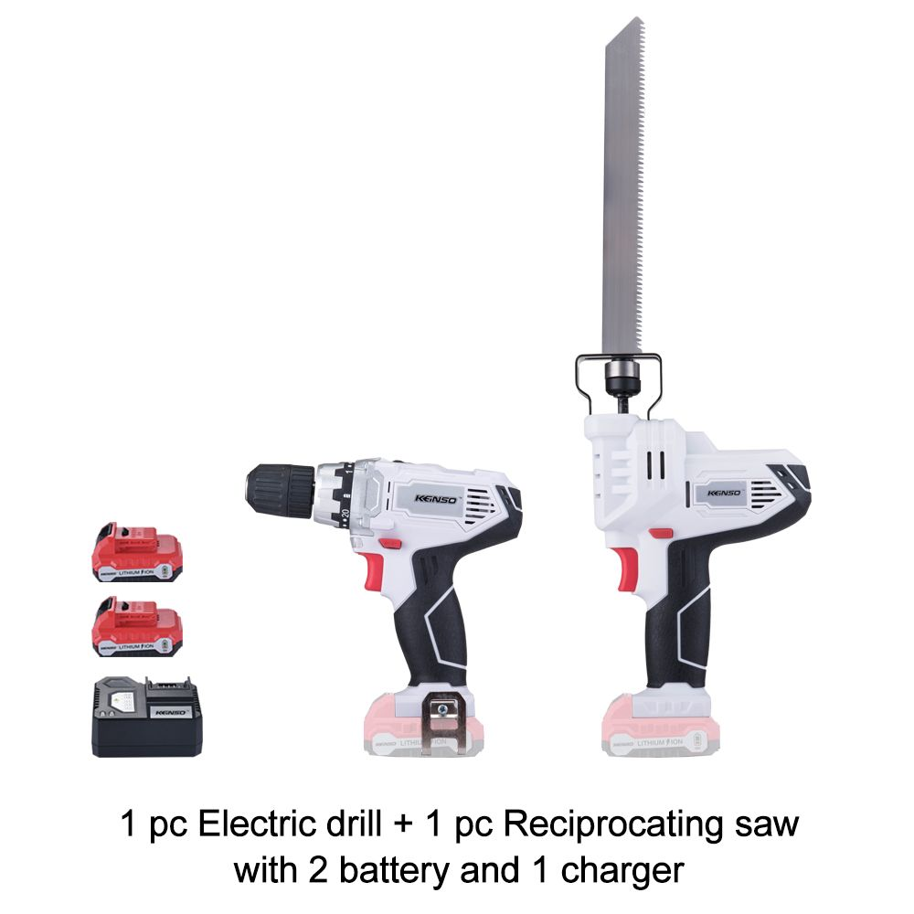 Keinso 12V power tools Reciprocating Saw and Electric drill with two lithium battery and one charger