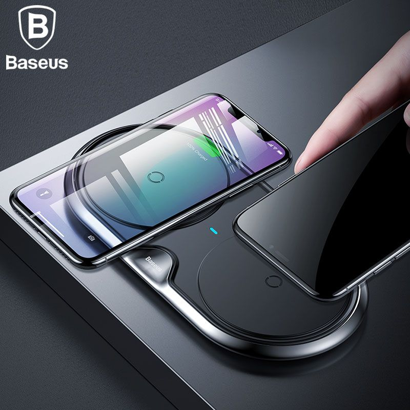 Baseus 10W Dual Seat Qi Wireless Charger For iPhone X 8 Samsung S9 S8 Note 8 Fast Charging Wireless Charging pad Desktop Charger