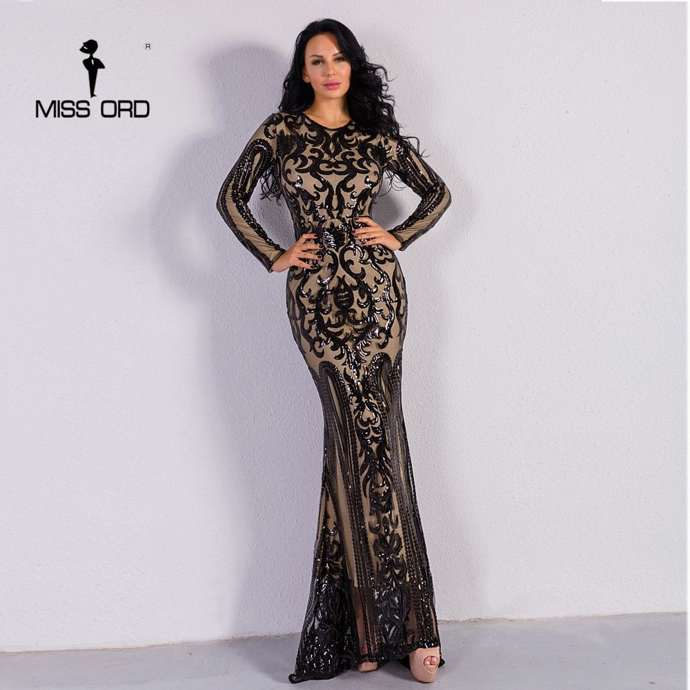 Missord 2018 Sexy O Neck Long Sleeve Retro Sequin Maxi Gorgeous Dress FT8578-2