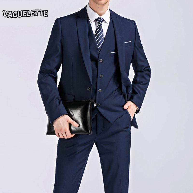 (Chaqueta + Pantalones + Chaleco) 3 Unidades de Los Hombres Traje Slim Fit Negocios Desgaste Formal de Los Hombres Traje de Boda Negro Elegante Traje Mariage Homme M-4XL