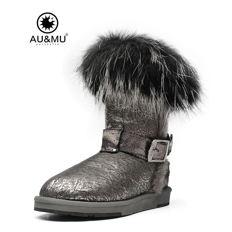 2018 AUMU Australia Patent Leather Fur Slip-on Round Toe Rubber Soles Mid-calf Snow Winter Boots N362