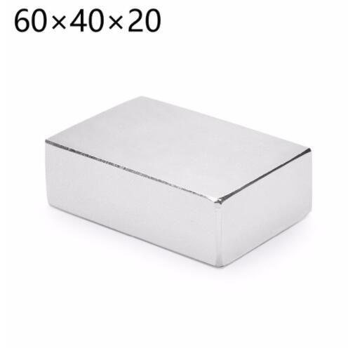 HYSAMTA 1 pièces bloc 60x40x20mm Super puissant forte terre Rare bloc NdFeB aimant néodyme aimants N50