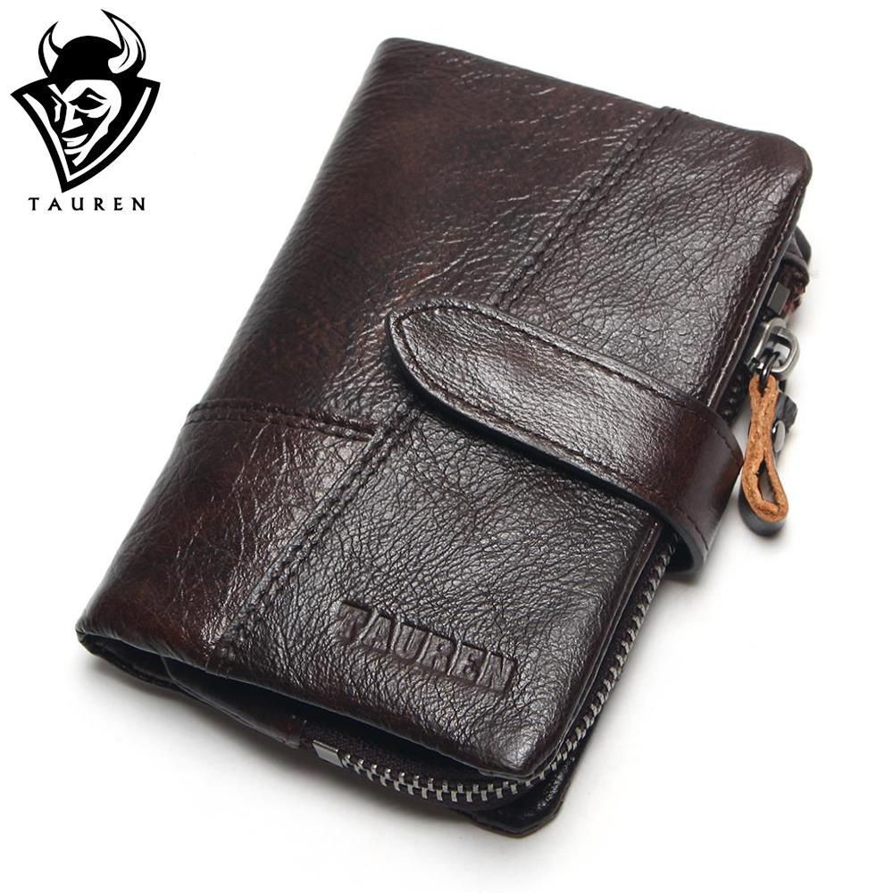 TAUREN OIL WAX Cowhide Genuine Leather Men Wallets Fashion Purse With Card Holder Vintage Long Wallet Clutch Wrist Bag