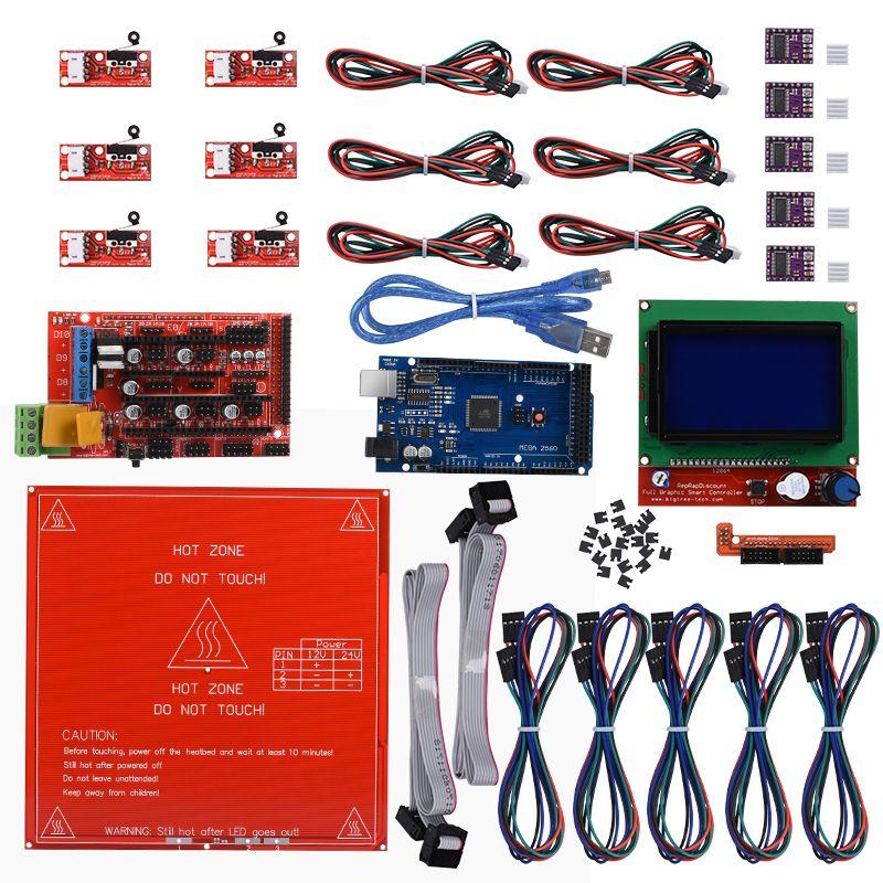 Reprap Rampes 1.4 kit + Mega 2560 + Heatbed mk2b + 12864 LCD Contrôleur + DRV8825 + Mécanique Endstop + Câbles 3D Imprimante