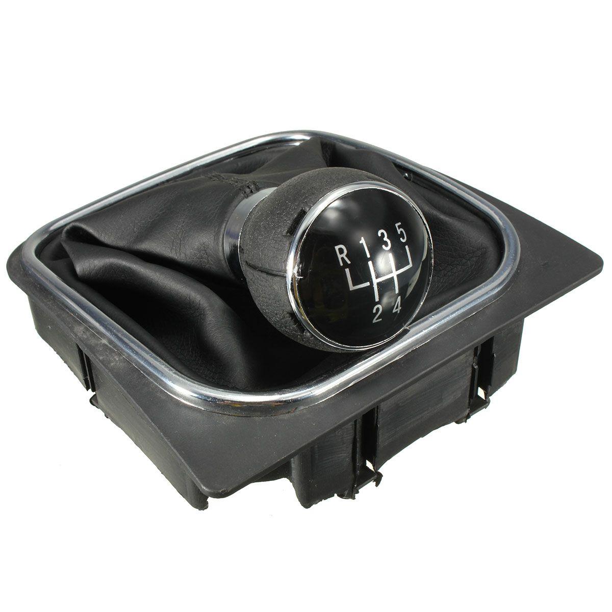 New 5 Speed Car Gear Shift Knob Gaitor Boot PU Leather Black For VW Golf 6 MK5 MK6 2005-2014
