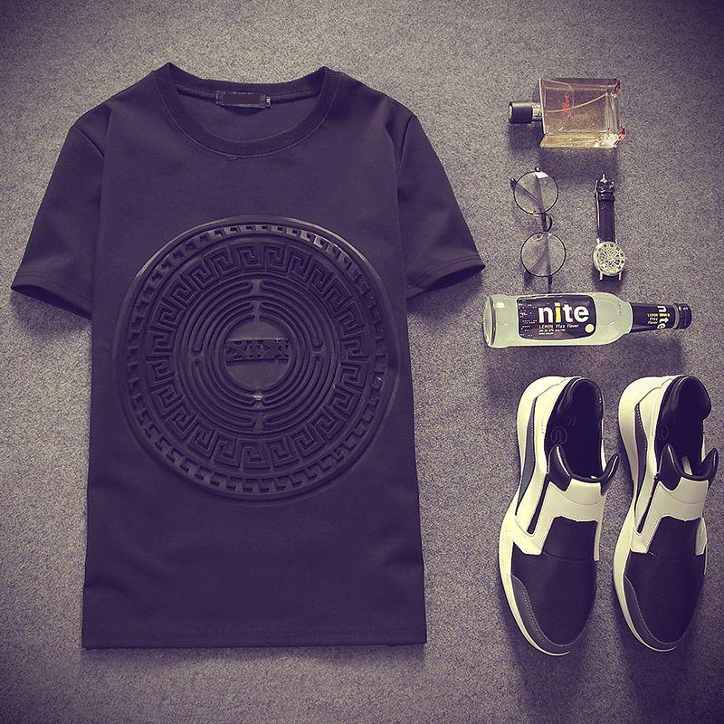 2017 Été Japon style 3D imprimé (Espace coton) t-shirts à manches courtes Noir et blanc Rue Punk t-shirts occasionnels MQ244