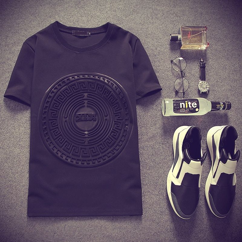 2017 Summer Japan style 3D printed (Space cotton) short sleeve t shirts Black&white Street Punk casual t shirts MQ244