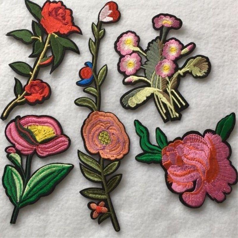 1 set de brodé correctifs fleur appliques comprennent 5 pièces vêtements patch à coudre accessoires fer sur zakka patchwork DIY