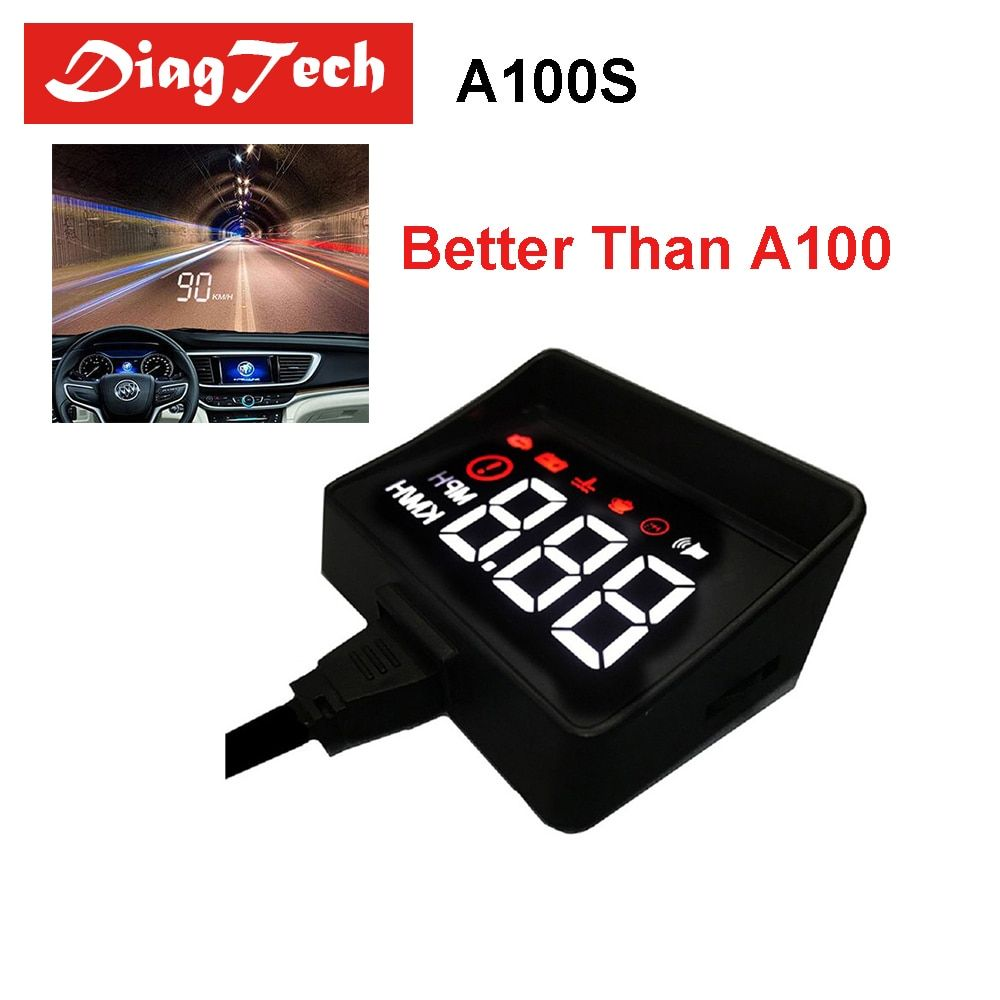 Newest Car Speedometer A100S Car HUD Head Up Display Overspeed Warning System Projector Windshield Auto Electronic Voltage Alarm