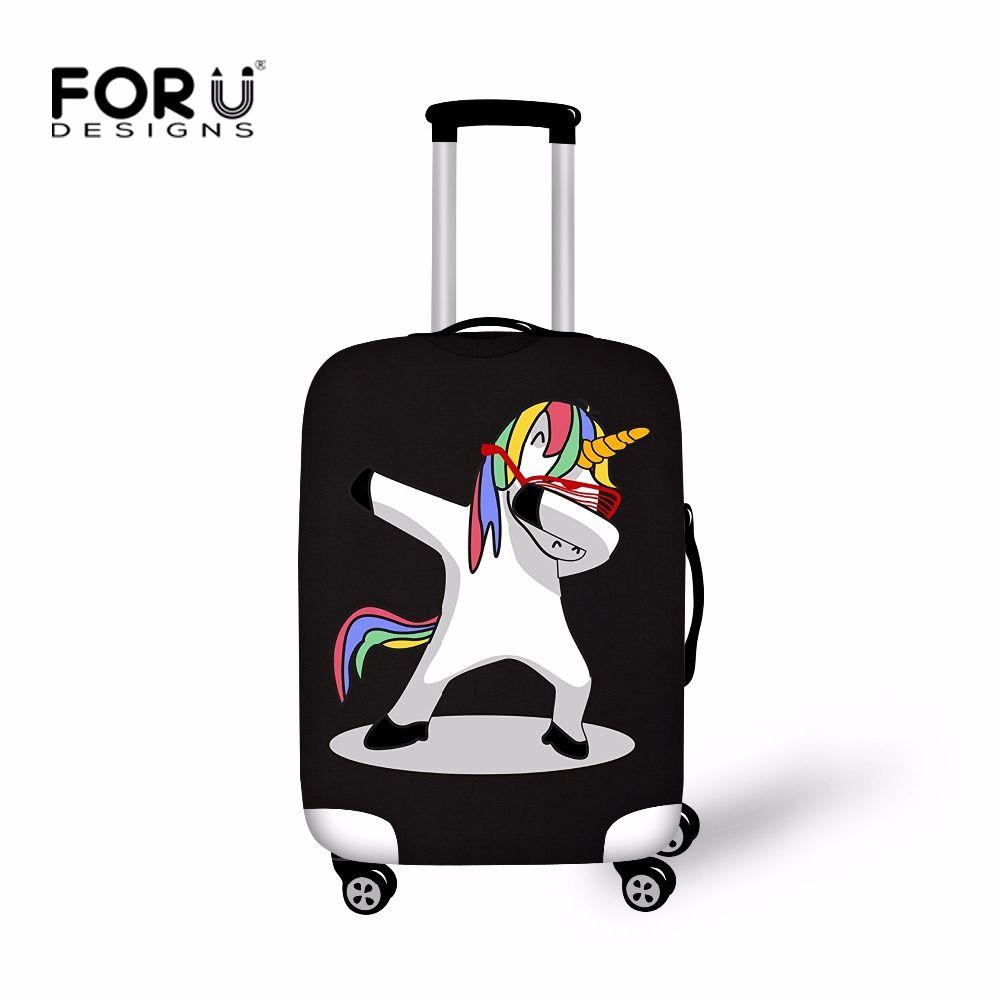 FORUDESIGNS Cartoon Unicorn Luggage Protective Covers Travel Accessories 3D Flamingo Printed Suitcase Cover maletas de unicornio