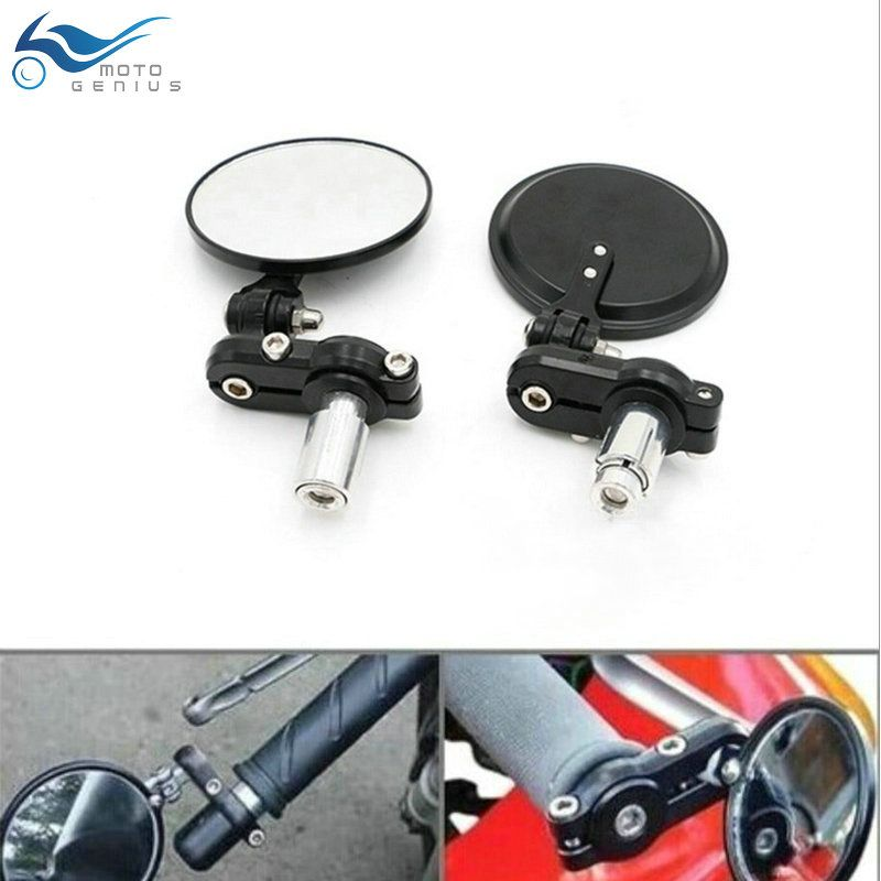 Motorcycle Round Handle Bar End Foldable Motorbike Rear View Side Mirrors Cafe Racer Mirrors  7/8