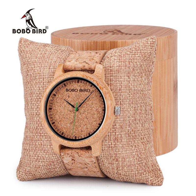 BOBO BIRD Lovers Design Bamboo Wooden ladies Quartz Wristwatch Handcrafted Wood Watches for Men Women as Gift relogio masculino