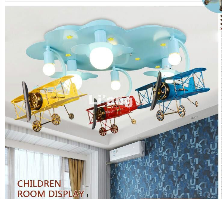 New Arrival LED Children Lights Children Ceiling Lamp Plane Design Decora Bedroom Light E27 110V 220V Remote Controller Included