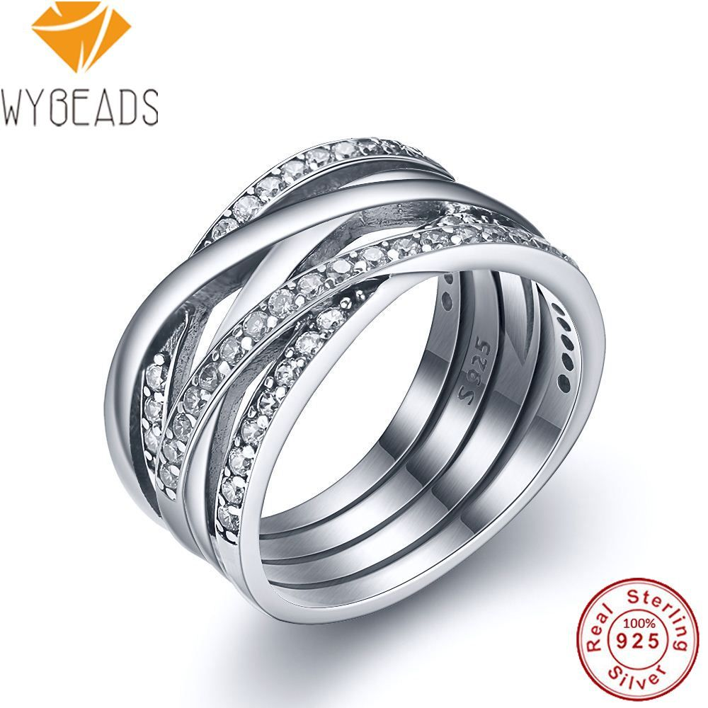 WYBEADS 925 Sterling Silver Entwined Rings With Clear Cubic Zirconia Finger Ring For Women Wedding Engagement Fashion Jewelry
