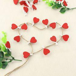 60 unids/lote forma del corazón clips de madera suministros de oficina decoración corazón mini madera clothespin clips