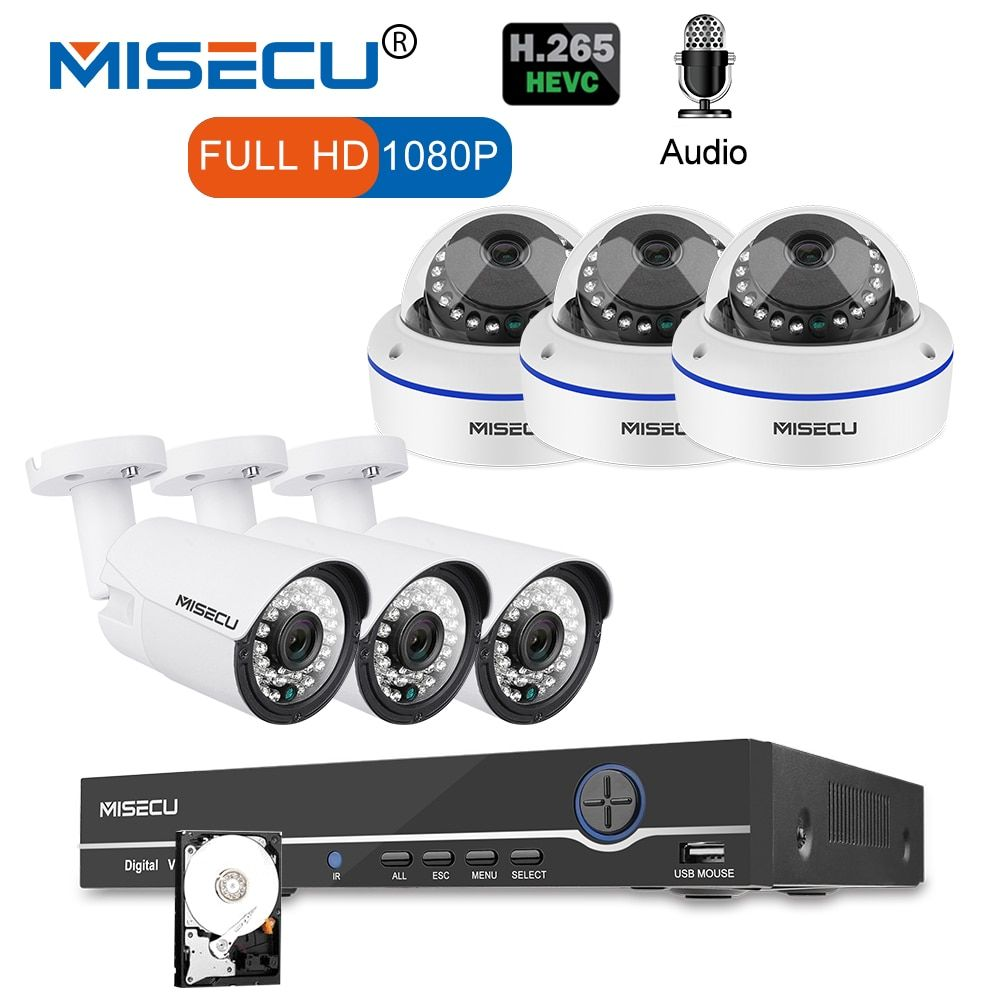 MISECU 8CH 1080P POE CCTV System NVR Kit 6PCS 2MP Vandalproof Dome Camera Audio Record Waterproof Camera P2P Onvif Security kit