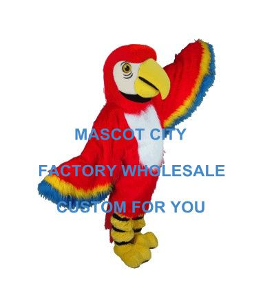 Red Macaw Mascot Costume Adult Size Long Hair Birds Mascotte Outfit Suit Christmas Halloween Holiday Party Costumes SW576