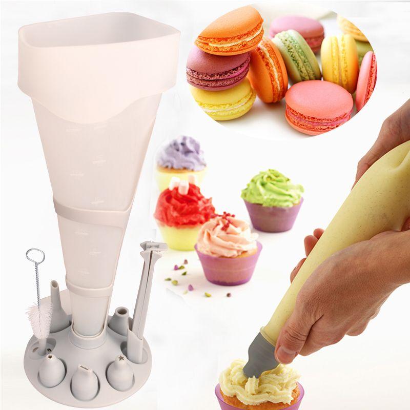 Poche A Douille 11 pièce pâtisserie gâteau Fondant Decora crème tuyauterie glaçage buse pâtisserie sac plateau de support cuisine bricolage