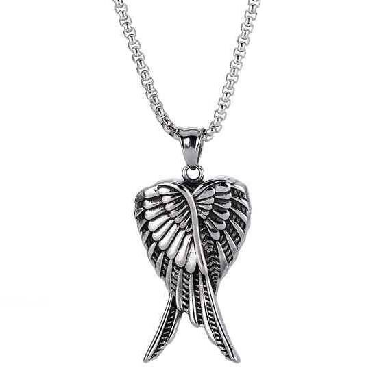 Neckury Length adjustable fashion necklece made of stainless steel wing and compass shaped necklece for little girl and boy