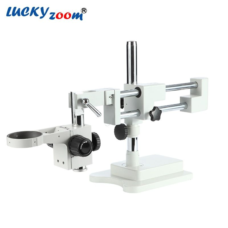 Luckyzoom Strong Flexible Trinocular Double Arm Base For Stereo Zoom Microscope Stage A1 Microscopio Accessories Free Shipping