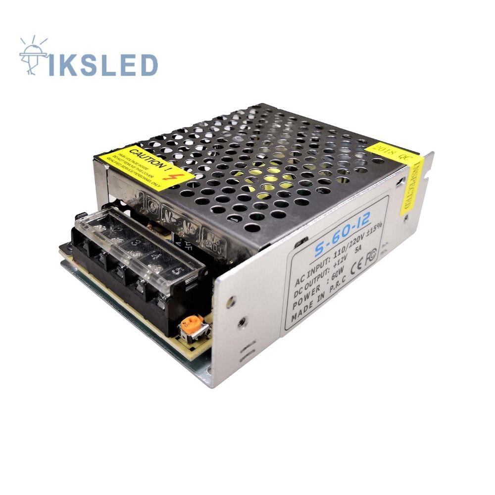 Offre spéciale Éclairage Transformateur DC12V 5A 60 W 110/220 V à 12 V LED interrupteur d'alimentation Du Pilote adaptateur pour LED lumière bande