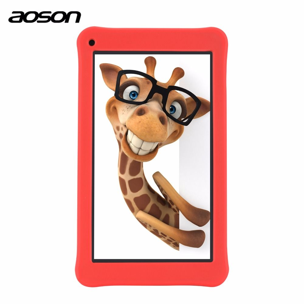 Cute 7 inch Kids Pad Tablet 16GB/1GB Android 7.1 Aoson M753 Kids Learning Tablet PC with Parental Control Software Silicone Case
