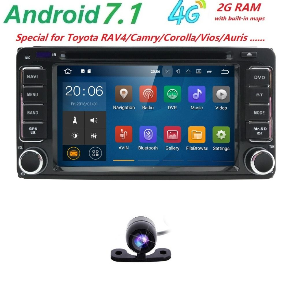 Android 7.1 DVD Player For Toyota Universal RAV4 COROLLA VIOS HILUX Terios Land Cruiser 100 PRADO 4RUNNER DVR Bluetooth rear cam