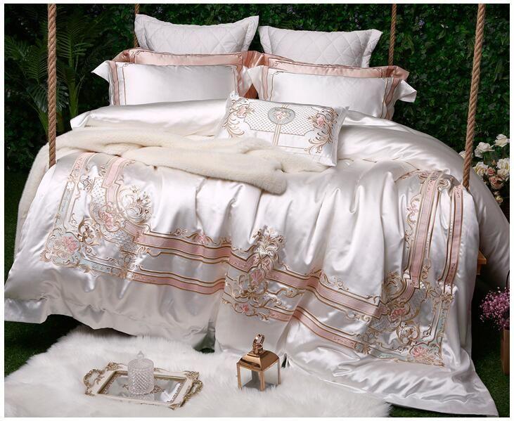 Weiß Seide Baumwolle Luxus Bettwäsche Set Königin King size Bed set Ägyptischer Baumwolle Bett/Ausgestattet blatt Duvet Abdeckung Bett set parure de lit