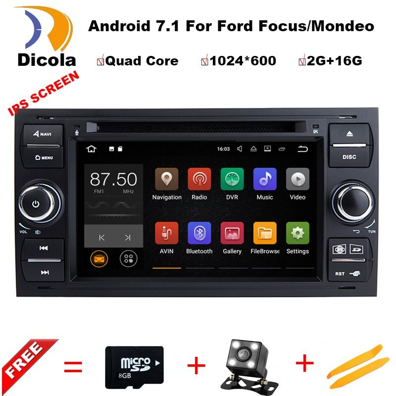 Android7.11 2 Din 7 Inch Car DVD Player For Ford/Focus/Mondeo/Transit/C-MAX/Fiest With GPS Navigation Radio BT 1080P Ipod FM Map