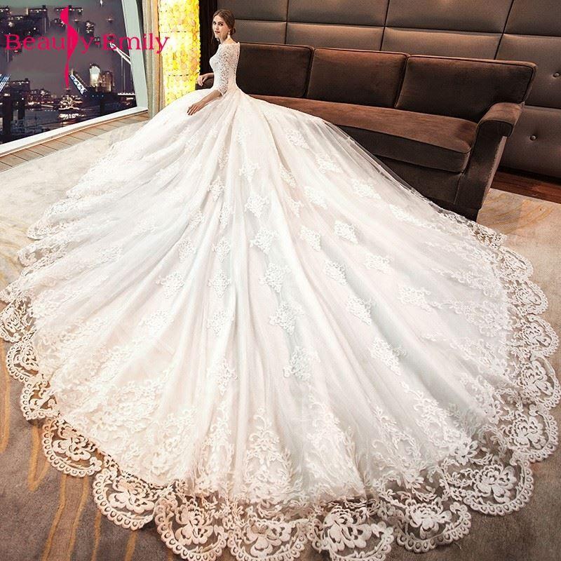 Beauty Emily White Lace Up Sexy Ball Gown Wedding Dresses 2018 Formal Bridal Dresses Vestido De Novia Luxury Beads Bridal Dress
