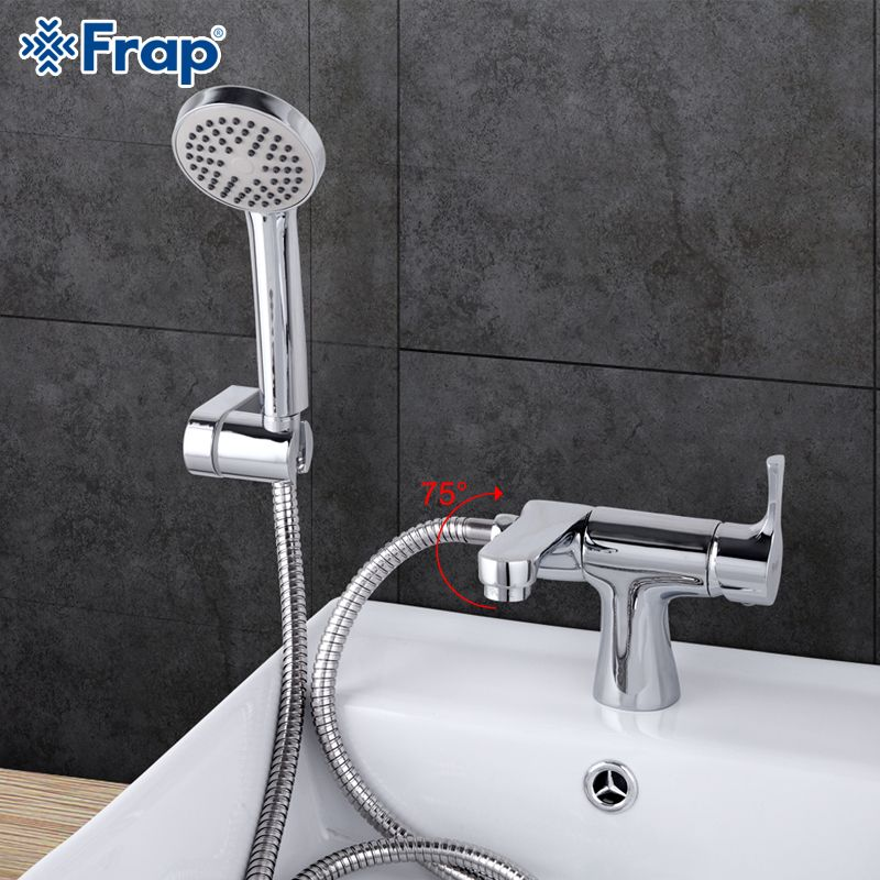 Frap 1 set Classic Style bathroom Basin Faucet with Hand Shower Cold and Hot Water Mixer bathtub faucets 75 Degree <font><b>Switch</b></font> F1252