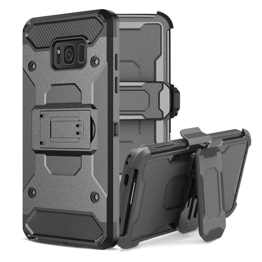 LANCASE Armure Couverture Coque Pour Samsung Galaxy S8 Cas Antichoc Dur Support à la Pleine Corps Clip Ceinture Cas Pour S8 S9 Plus Shell