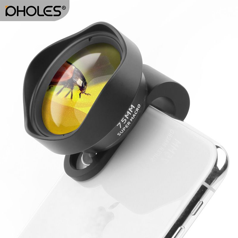 Pholes 75MM Mobile Macro Lens Phone Camera Macro Lenses for iPhone Xs Max XR X 8 7 Samsung S9 S8 S7 Piexl Clip On 4K HD Lens