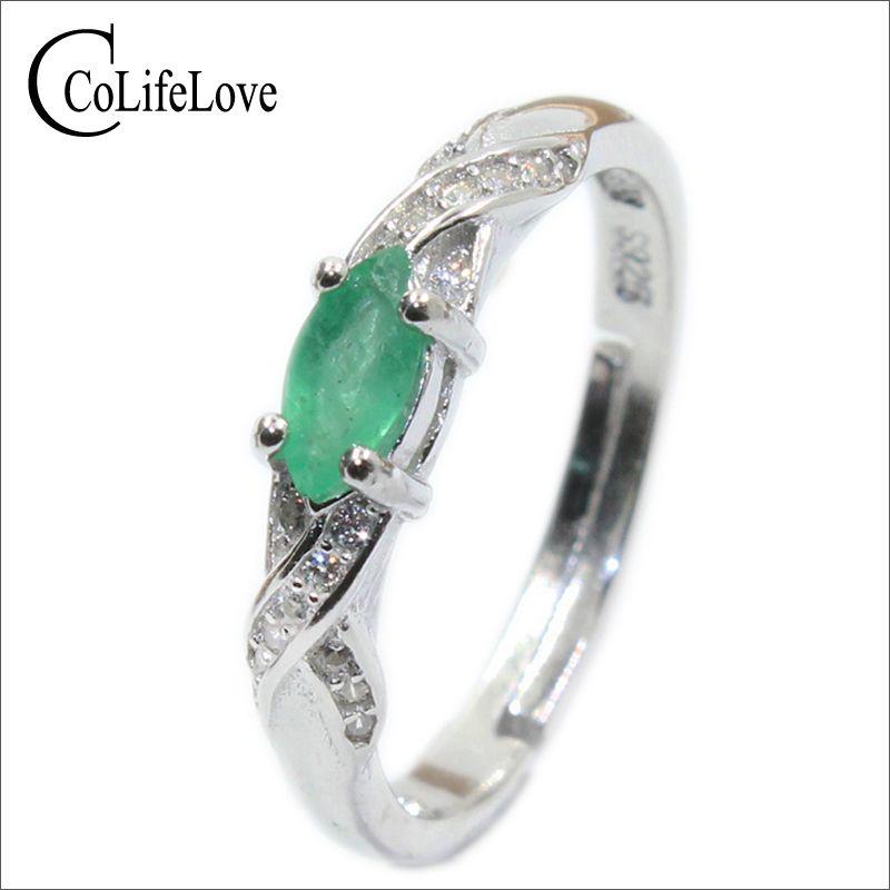 2017 otoño moda anillo Esmeralda natural 3mm * 6mm genuino Esmeralda anillo de plata esterlina anillo Esmeralda anillo de compromiso