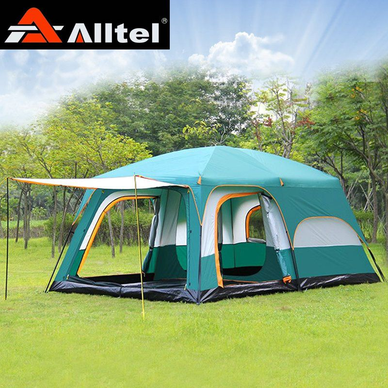Alltel Ultralarge 6 10 12 double layer outdoor 2living rooms and 1hall family camping tent 430*305*200CM L size in high quality