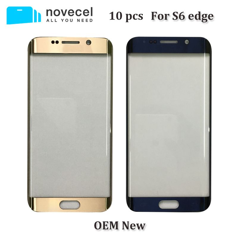 Novecel 10pcs OEM New Front Glass Lens for Samsung S6 edge S6edge G925 LCD display outer touch panel screen glass replacement