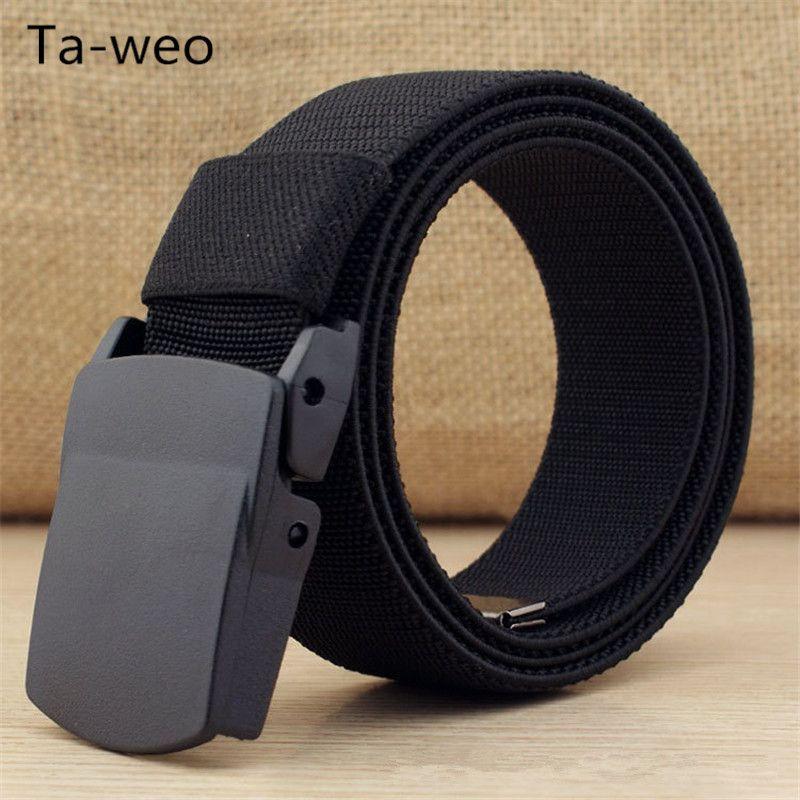 Décontracté 1.5 ''large ceinture respirante en toile, ceinture en plastique avec boucle de presse, ceintures élastiques pour hommes de haute qualité, taille de ceinture jusqu'à 60''