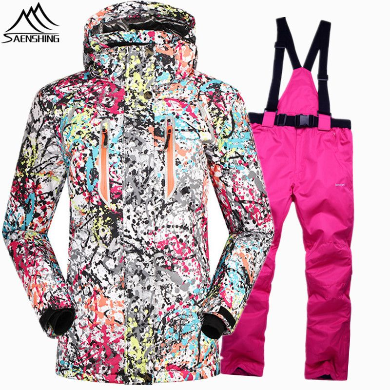 SAENSHING Waterproof 10000 snowboarding suits female ski suit women Super Warm ski winter jackets for girls snowboard pant snow